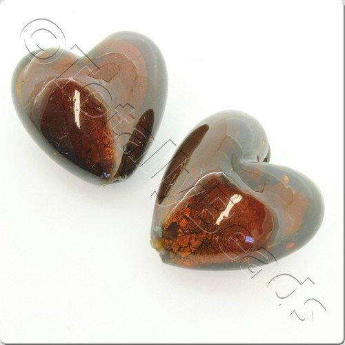 Lampwork Glass Bead Heart 31mm - Brown