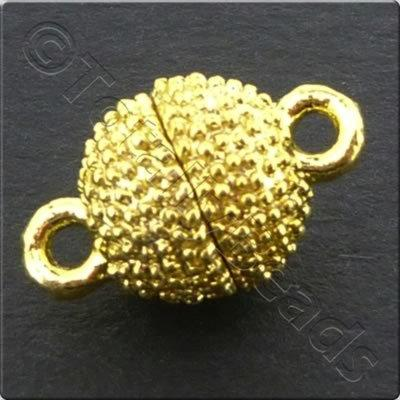 Magnetic Clasp- Spotted Round 8mm - Gold Plate 2pc