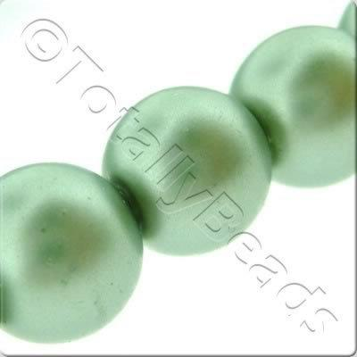 Glass Pearl Round Matt Finish - Sea Foam Green