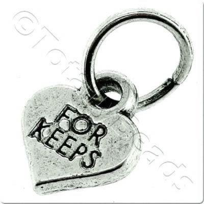 Tibetan Silver Charm - Heart Tag - For Keeps