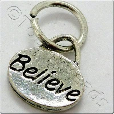 Tibetan Silver Message Tag/Charm - Believe