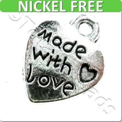 Tibetan Silver Charm - Made with Love Heart