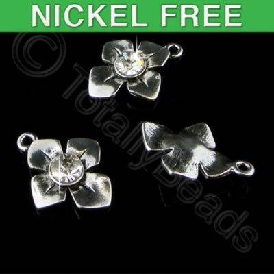 Antique Silver Charm - Crystal Flower 15mm