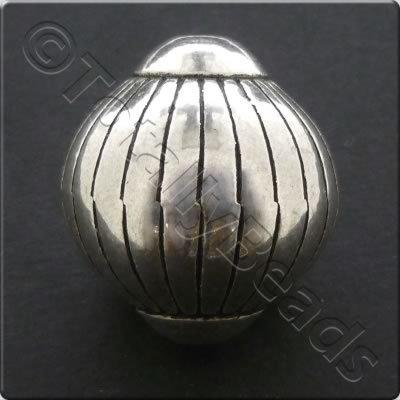 Metalised Acrylic Bead Lantern 25x27mm - Antique Silver 1pc