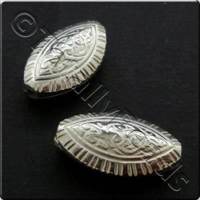 Metalised Acrylic Bead Flat Rice 19x11mm - Antique Silver 30pcs