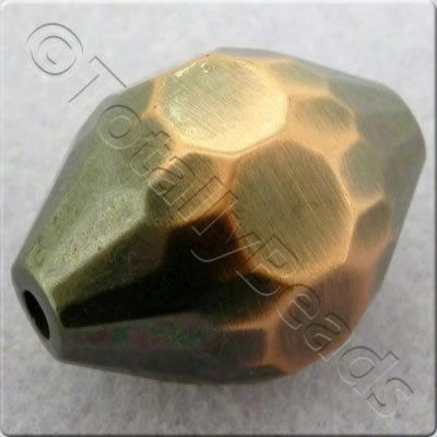 Acrylic Red Copper Bead - Facet Rice 30mm
