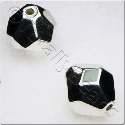 Acrylic Silver Bead - 12mm Large Facet Bicone