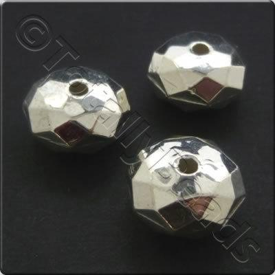 Metalised Acrylic Bead Facet Rondelle 11mm - Silver 45pcs