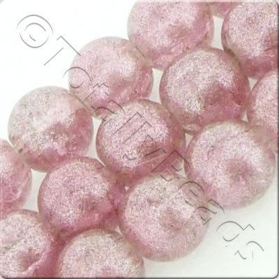 Metallic Crackle Glass Bead - Dusty Pink