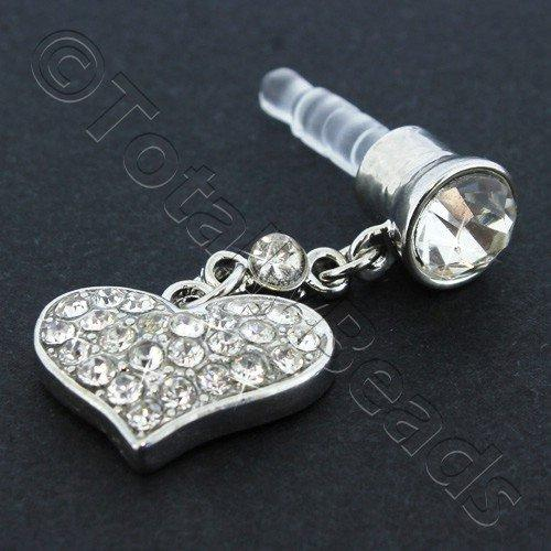 Mobile Audio Plug - Crystal Diamante Heart