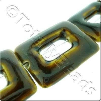 Ceramic Beads - Hollow Rectangle 30x40mm - Brown