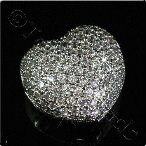 Pave Crystal Bead - Silver Heart