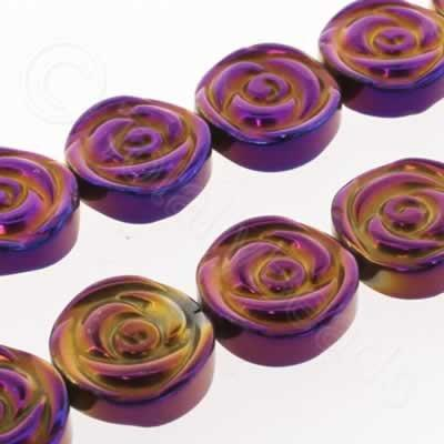 Hematite Rose Disc 12mm - Purple Plated