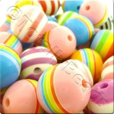 Resin Bead - Stripe Round 20mm - Mixed