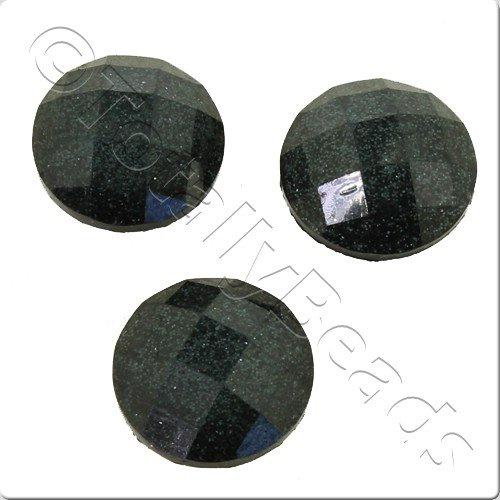 Resin Cabochon 10mm - Facet Sparkle Black 10pcs