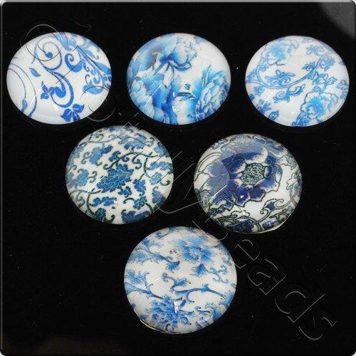 Glass Cabochon 20mm - Antique Blue Design 8pcs