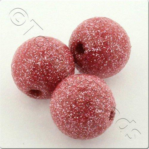 Resin Glitter Round 10mm Bead - Light Pink