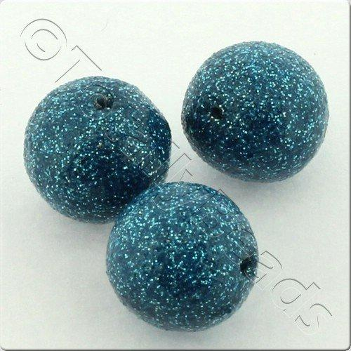 Resin Glitter Round 10mm Bead - Turquoise