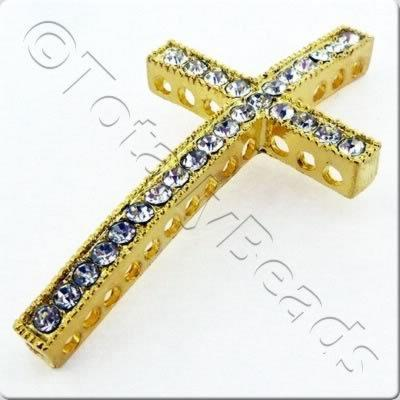Rhinestone Cross - Gold & Crystal