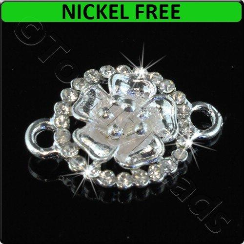 Silver Metal Connector Large Ring Crystal Flower 25x17mm 2pcs