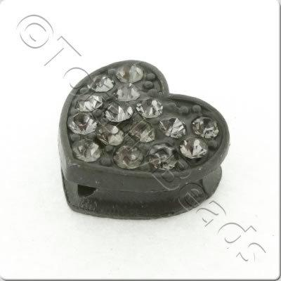 Shamballa Flat Heart - 11x12mm - Black Diamond