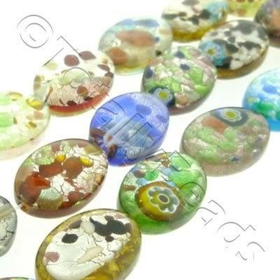 Silver Foil Millefiori - Flat Oval 10x14mm - Mixed