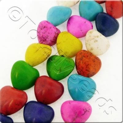 Synthetic Turquoise Heart 14mm - Mixed