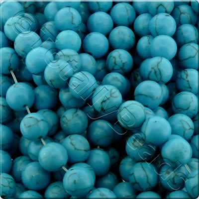Synthetic Turquoise Round Beads 6mm - Blue