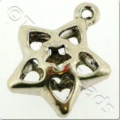 Tibetan Silver Charm - Hollow Star