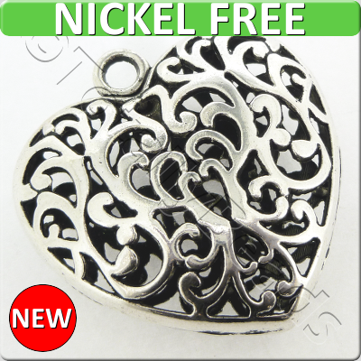 Antique Silver Metal Pendant - Filigree Heart 50mm - F10472