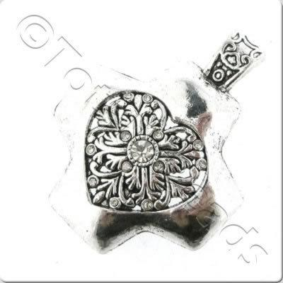 Tibetan Silver Pendant - Cross 45mm A12843