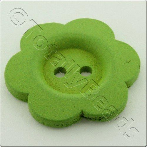 Wooden Flower Button 27mm - Light Green