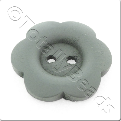 Wooden Flower Button 27mm - Grey