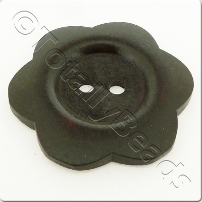 Wooden Flower Button 50mm - Dark Brown