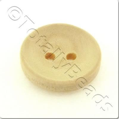 Concave Wooded Button 15mm - Natural