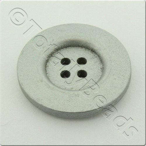 Wooden Button 30mm - Silver