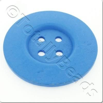 Wooden Button 60mm - Blue