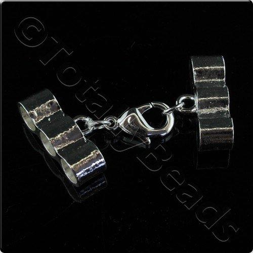 3 Row 7mm Cap Lobster Clasp - Silver Plated