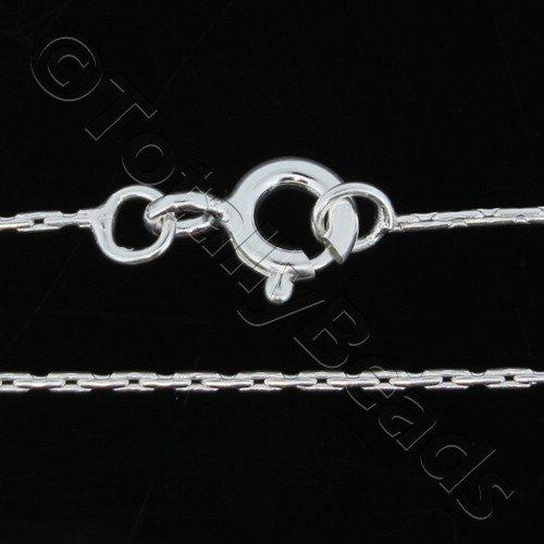 Sterling Silver 925 Chain Necklace Tubular 0.8mm 18 inch