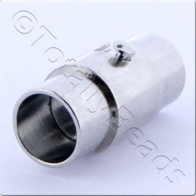 Magnetic Locking Tube Clasp 17x7mm Rhodiumn