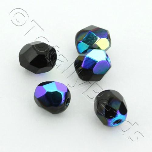 Czech Fire Polished 4mm Faceted - Jet Black AB - 100pcs