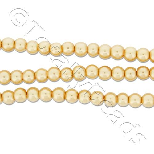 Glass Pearl Round Beads 3mm - Gold