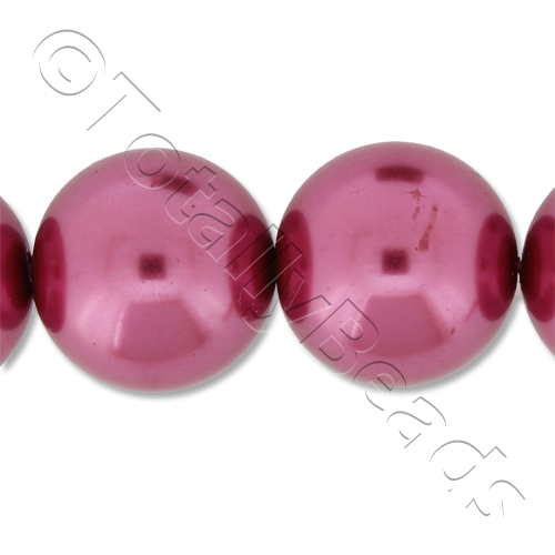 Glass Pearl Round 16mm - Fuchsia