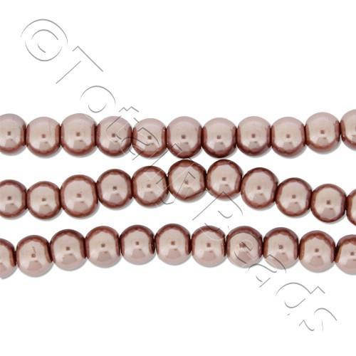 Glass Pearl Round Beads 4mm - Brown