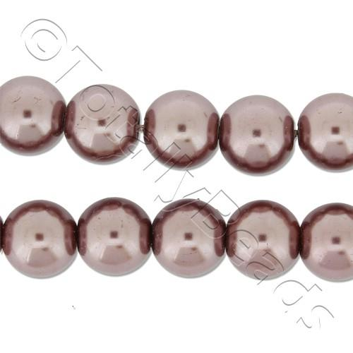 Glass Pearl Round Beads 8mm - Brown