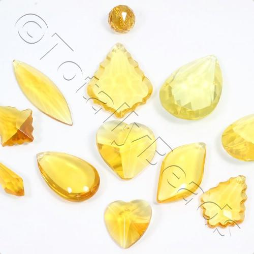 Glass Pendant Pack - Mix of 12 Pendants - Yellow