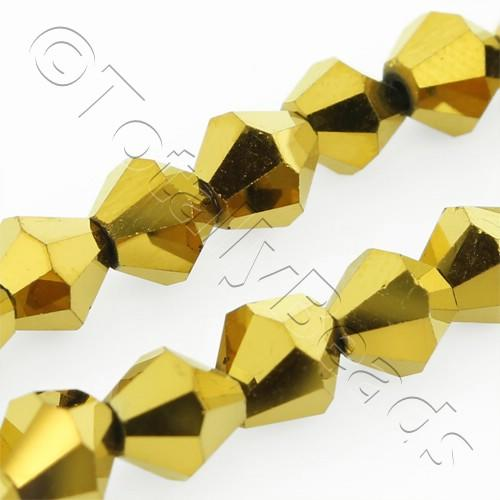 Crystal Bicone 6mm - Gold Plate