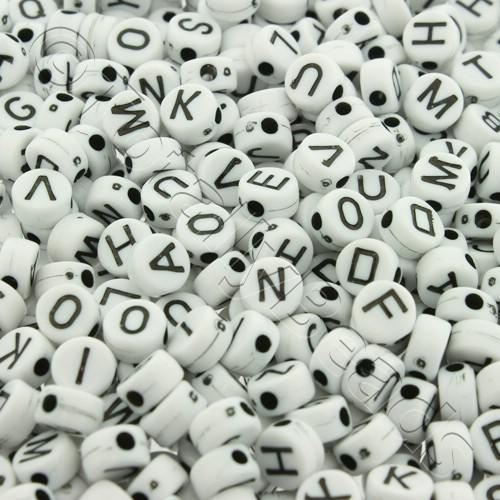 Acrylic Alphabet Beads - Flat Round Black & White 6mm - 400pcs