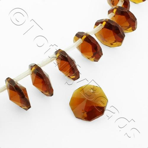 Glass Hexagonal 14mm - Dark Amber