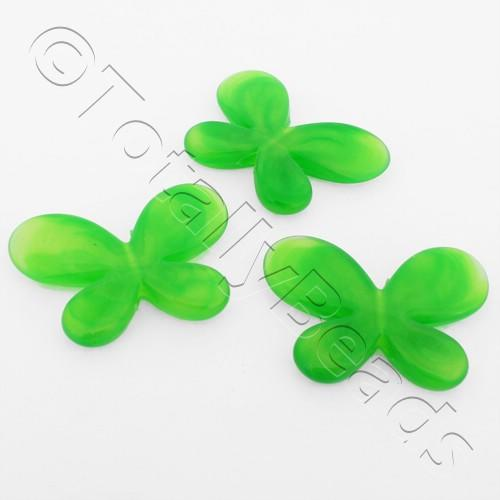 Acrylic Butterflies 32mm - Green 8pcs